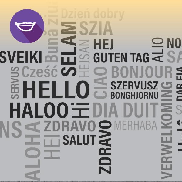 תצוגה של טקסט במגוון שפות שונות ואייקון של שפתיים
